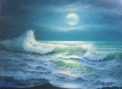 Seascape Painting - Rising Moon